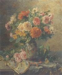 vase de fleurs, eventail sur l'entablement by pierre garnier