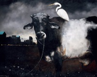 calm cattle and migrating egret by renato barja jr