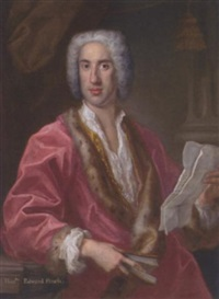 portrait of the hon. edward finch in a fur-trimmed red dressing-gown and white shirt, a letter in his left hand, a book in his right, leaning against a ledge, a column beyond by antonio david