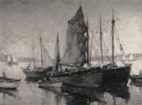 moored fishing boat by william dudley brunett ward jr.