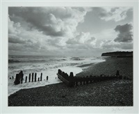 from rye church tower, towards cliff end (from romney marsh series) by fay godwin