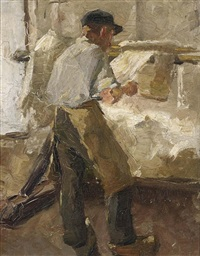a young workman at a stretching frame by alexander gerhard anton van rappard