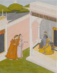 an illustration from a gita govinda series: sakhi brings radha to see krishna by anonymous-indian (19)