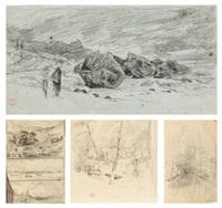 averse sur les rochers (4 works) by paul huet