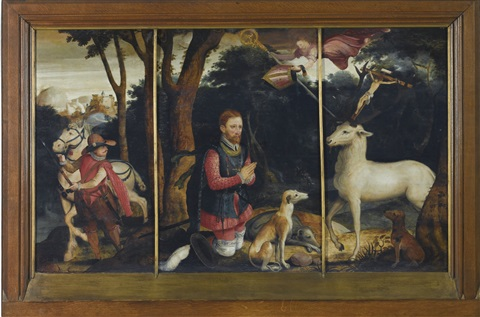 Miracle of St Hubert 3 works in 1 frame by Frans Pourbus the Younger ...