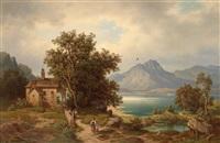 partie an einem alpensee by leonhard rausch