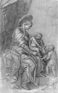 the virgin and child with the infant baptist playing with a lamb by paulus van vianen the younger