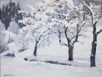 paysage de neige aux grands arbres by eugène bernhardt