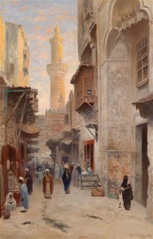 Orientalische Straßenszene by Frans Wilhelm Odelmark on artnet