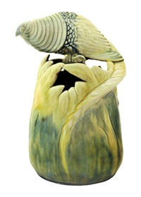 vase with pheasant (model 6062) by lajos mack