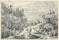le paysage alpestre. berglandschaft mit fünf brücken (from vedute, altre prese da i luoghi, altre ideate) by canaletto