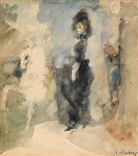 elegant lady with a white horse by artur v. fonvisin