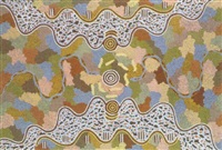witchety grub and rainbow serpent dreaming at kurratjarrayi by tjakamarra michael nelson