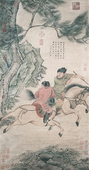 雙騎圖 ren renfa yuan dynasty two horses and riders by ren renfa