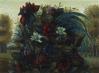 rooster with bunch of flowers by kees andrea