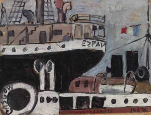 puerto con barcos by joaquín torres garcía