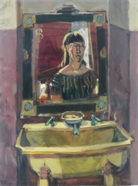 self portrait in the mirror above the sink by mariana edna volz