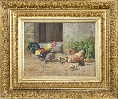 rooster hen and chicks by william baptiste baird