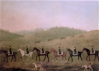 a hunt with hounds on a heath, a country house beyond by richard roper
