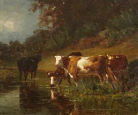 cows drinking from a stream by louis-victor legentile