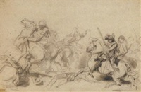 a cavalry in battle by clément-auguste andrieux