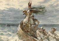 vikings heading for land by frank dicksee