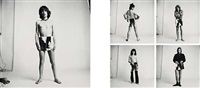 against the wall - sticky fingers album promotion (mick jagger, keith richards, mick taylor, bill wyman, charlie watts) (5 works) by david montgomery