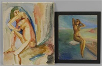 nymph (+ nude on diving board, oil on card, smllr; 2 works) by e.e. cummings