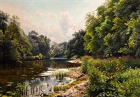 summer day by the river by peder mork monsted