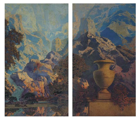 du pont mural in 2 parts by maxfield parrish