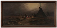 indian encampment, early evening by astley david middleton cooper