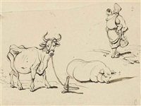 sketches of a tethered cow, a pig, and a mother and child by george chinnery