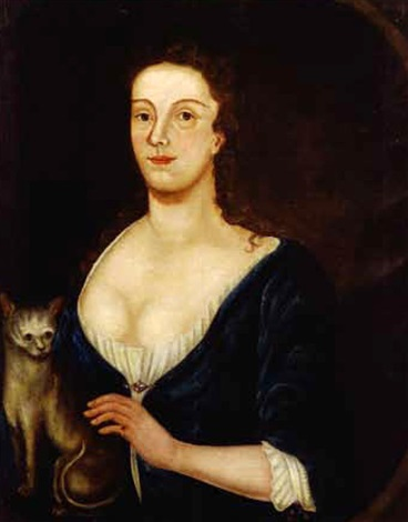 portrait of a lady in blue with her cat by john greenwood