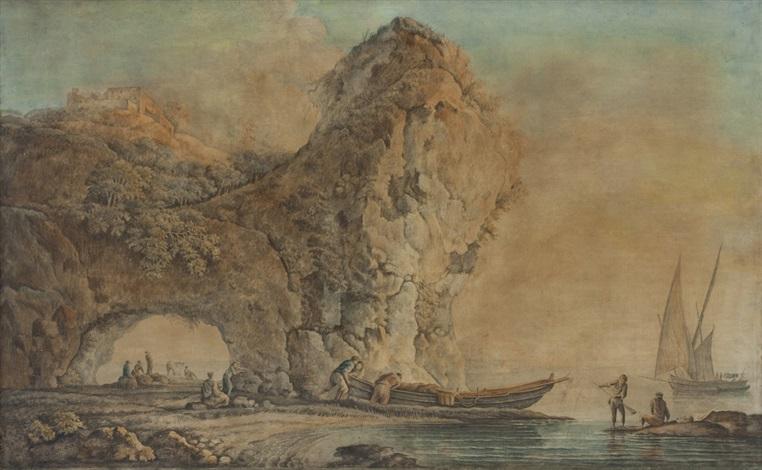 pescatori e barche in una marina con sperone roccioso e arco naturale sulla sinistra by carlo bonavia