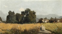 landscape with cottages and figure on a path by george charles haite