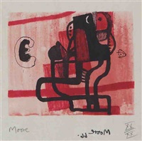 black figure on pink background by henry moore