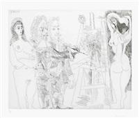 l'atelier, avec un hibou et un envoyé officiel, from la série 347 by pablo picasso
