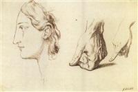 profilo mascile e mani (study) by giuseppe sabatelli