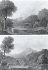 paysages à l'aqueduc animé de personnages by pierre-etienne lesueur