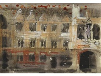university college, oxford (+ a postcard from the artist giving the subject matter of the watercolour, initialled and dated 1975) by john piper