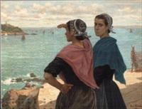 deux jeunes femmes de dournenez devant l'île tristan by paul abram