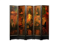 a five-fold painted screen by etienne drian