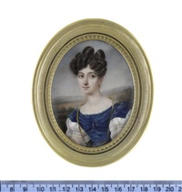 a lady, wearing blue dress with short white puff sleeves and white under-dress with sheer long puff sleeves and lace trim to her décolleté... by charles claude noisot