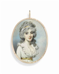 lady king, countess of kingston, née helena moore (1773-1847), in white dress with yellow sash tied around waist by george engleheart
