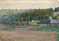 cottages by a wood by mikhail vasilievich nesterov