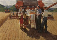 presenting the first loaf to the harvesters by mikhail krivenko
