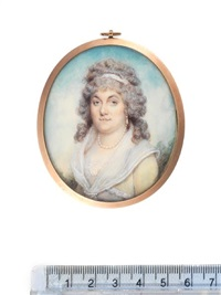 a lady, wearing pale yellow dress with white lace trim and fichu fastened at her bodice with pearl clasp, pearl necklace and pendent earrings by philip jean