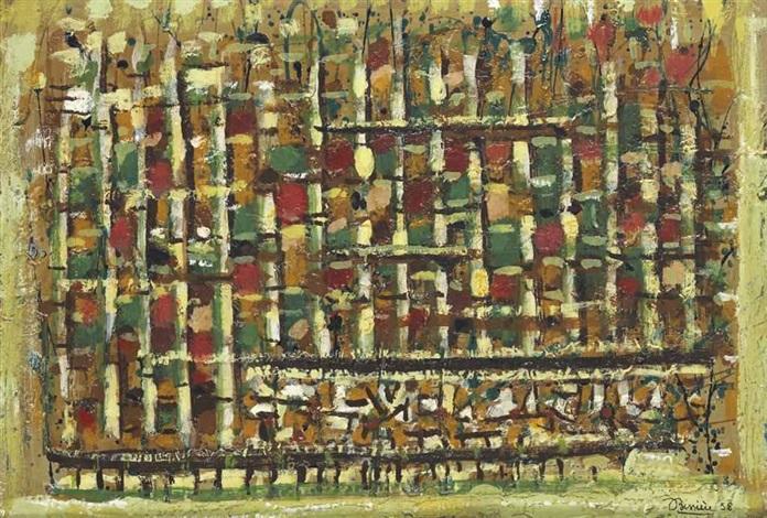 paysage vert composition 403 by roger bissière