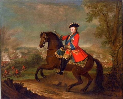 hrh william augustus duke of cumberland on horseback wearing frock uniform of the first guards with the ribbon and star of the garter holding a baton a view to the battle of culloden beyond by david morier