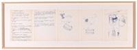 kasel/schriftliche aufzeichnungen und skizzen zur 37. aktion für den film das abendmahl von christoph und rosmarie stenzel by hermann nitsch